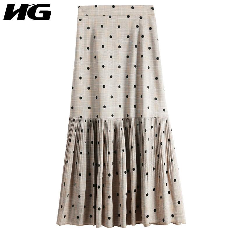 a381904a8d Compre HG 2019 Primavera Verano Nuevas Mujeres Corea Moda Rayas Dot Falda  Casual Femenina Suelta Mitad De La Pantorrilla Partido Todos Falda Plisada  WBB2061 ...