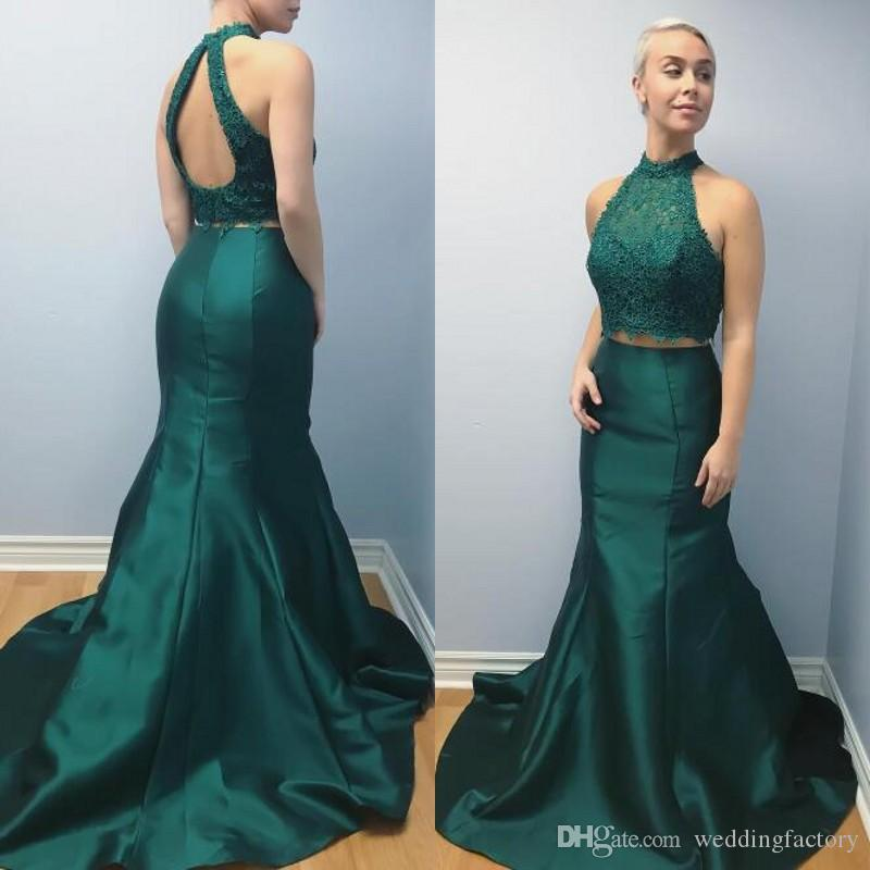 279a3c35afb 2019 New Evening Dresses Mermaid High Neck Halter Sleeveless Cut Out Open  Back Lace Crop Top Two Pieces Prom Party Gowns Formal Dress Green Evening  Dress ...