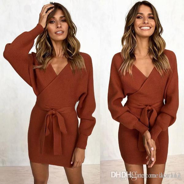 8729df574 Compre Novo Outono Inverno Camisola Sem Encosto Vestido Mulheres Cruz Dupla  Com Decote Em V De Malha Vestidos Quentes Sexy Bodycon Magro Vestido Com  Cinto ...