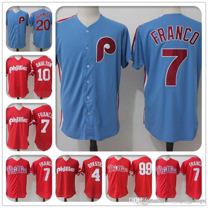 lowest price ee340 39ab8 20 Mike Schmidt Majestic Coolbase Jersey Philadelphia 4 7 Maikel Franco  Phillies Jersey 10 Darren Daulton 99 Mitch Williams a3