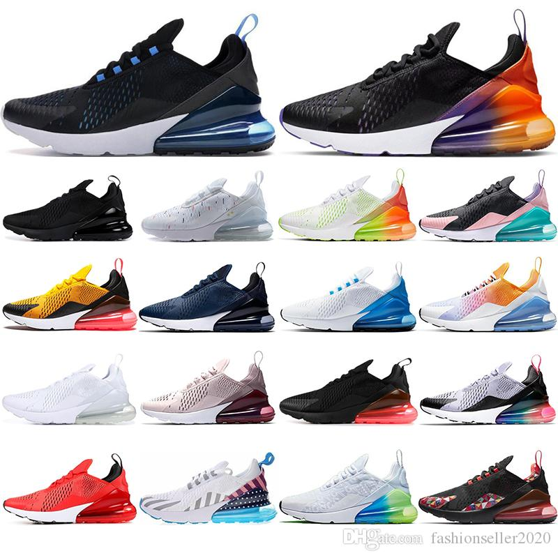 Nike air max 270 con calcetines 2019 moda transpirable Hombres Mujeres Zapatos para correr Triple Negro BARELY ROSE Photo Azul Have a day entrenadores