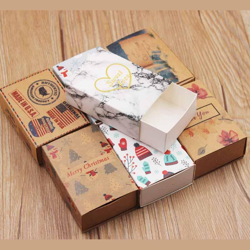 50pcs DIY Handmade slide gifts package box white marbel background  candy/wedding favors box kraft Christmas gifts packing