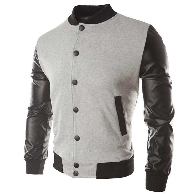 e7d78541b 2018 mens Leather Patchwork baseball jacket Casual PU Bomber Jackets  Single-breasted Standing collar coat Outerwear Streetwear