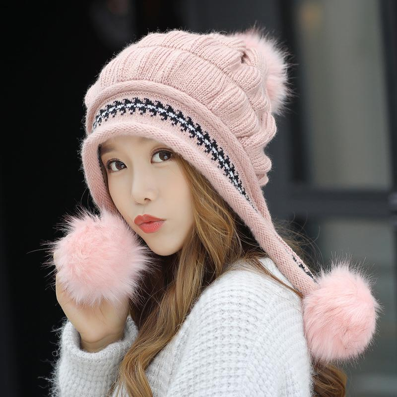 92d547f3459 Fashion Women S Winter Hats Fur Hats Knitting Fox Fur Hat Pom Poms Ball Beanie  Caps Thick Skullies Female Cap Gorros With Gloves S18120302 Beanies For  Girls ...