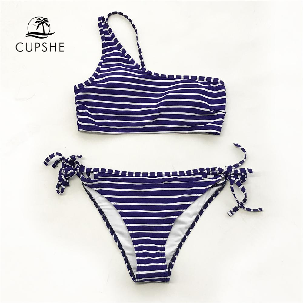 6da5406357 2019 CUPSHE Dark Blue And White Stripe One Shoulder Bikini Sets Women One  Shoulder Thong Two Pieces Swimsuits 2019 Girl Bathing Suits From Xx2015, ...