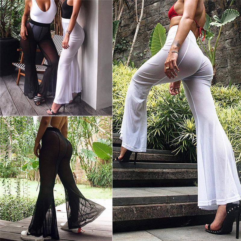 55390c5a13 2019 Sexy Women Mesh Sheer Pants Summer Lady Bikini Cover Up Swimwear Beach  See Through Long Flared Pants High Waist Long Trousers From Billstone, ...