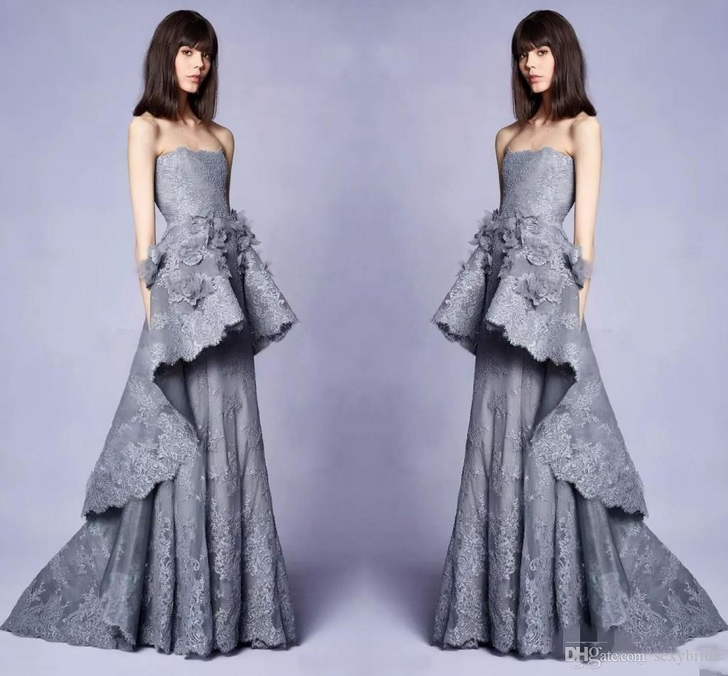 5de0862b8a6 Elegant Designers Grey Evening Dressses Long With 3D Floral Embellishments  New 2019 Lace Strapless Neckline Pageant Party Gowns Prom Dress Dresses Uk  ...