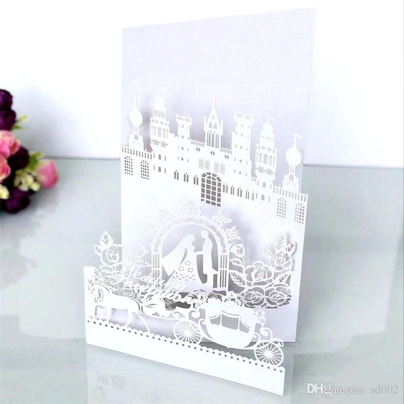 White Invitation Card Laser Hollow Out Greeting Cards Four Fracture Design Wedding Decorate Supplies Castle Pearl Light Paper 2dsC1