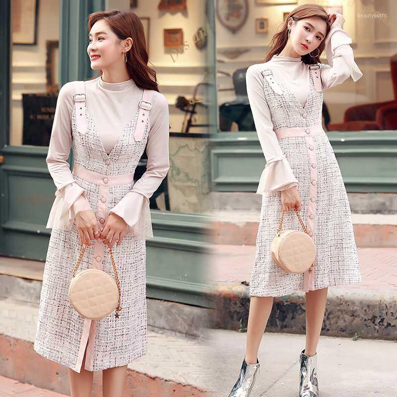 High-end custom 2019 Autumn Winter Women's Flare sleeve tops and Single-breasted Spaghetti strap Plaid Tweed Dress 2 Piece Set