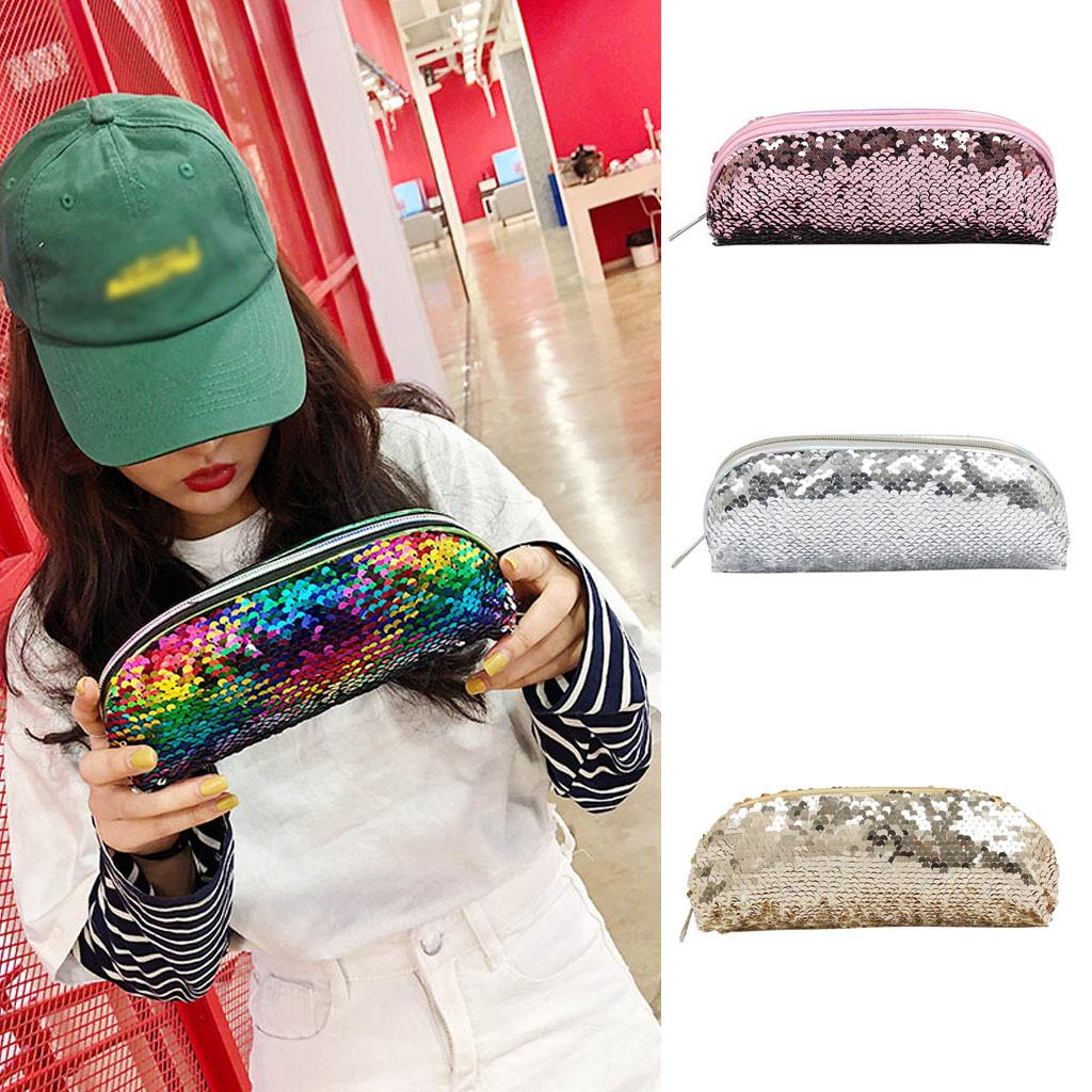 Fashion Ladies PU Sequin Pen Holder Large Capacity Lightweight Cosmetic Storage Bag for 2019 with zipper