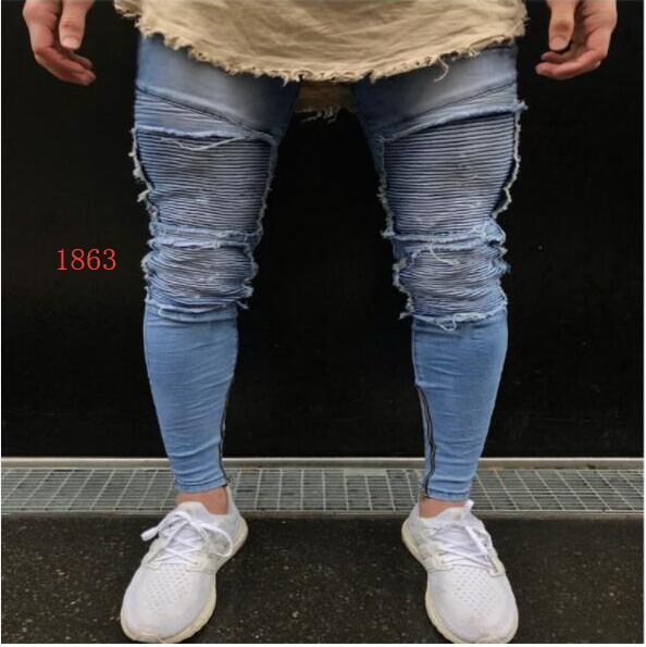 Hip hop Mens Jeans Distressed Ripped Pants for men Skinny straight Trousers slim Zipper Fly hole denim pants Clothing