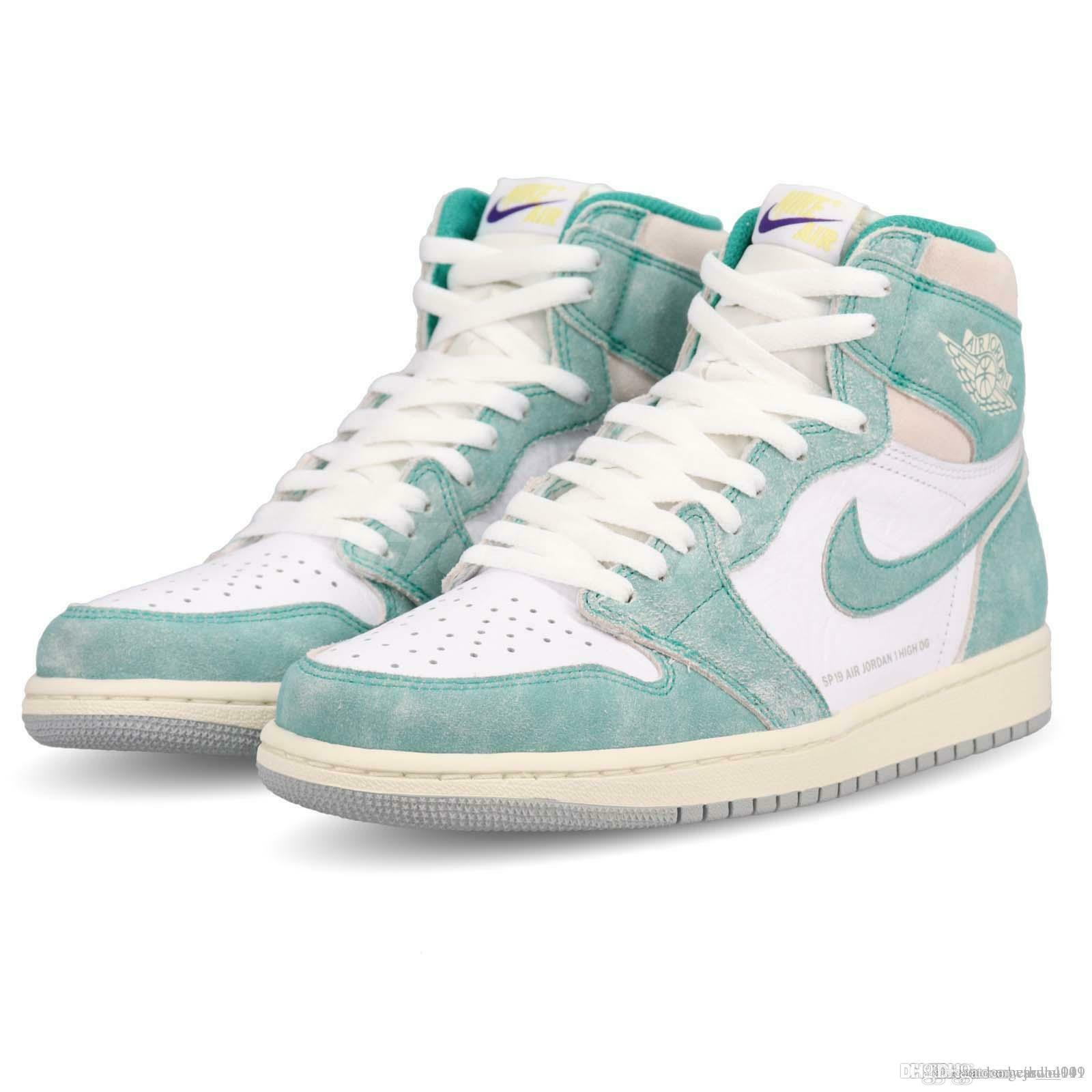 the latest 6bb12 ce699 2019 Aair 1 JORDAN 1s High Turbo Green Basketball Shoes Men Women  Sail-White Not for Resale Varsity High SoleFly Spiderman Shoes AIR