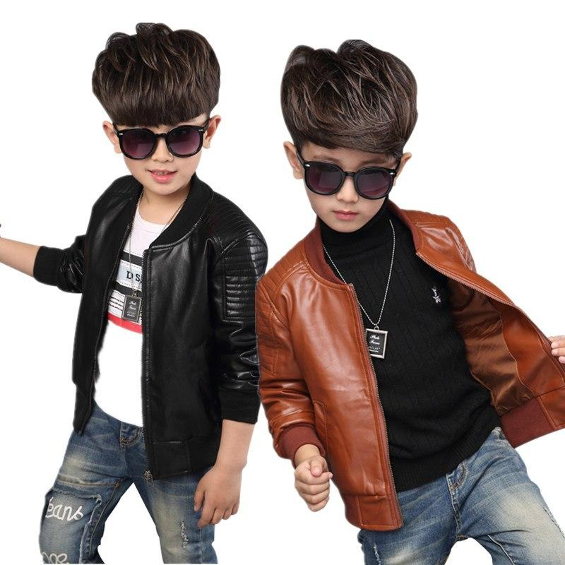 cbb369574fa5 New Baby Boy Leather Jacket Boys Coat Black And Brown Color Children ...