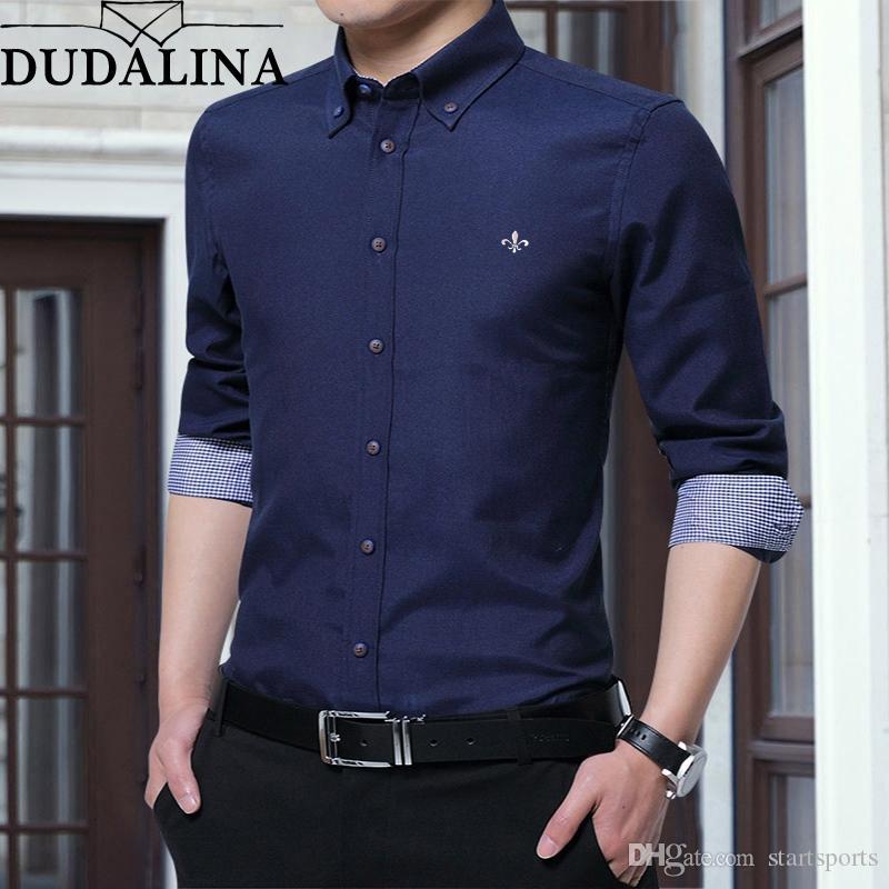 4a694ebfd1 Compre Dudalina Impresso Camisas Dos Homens Camisa De Manga Longa Turn Down  Collar Camisa Social Masculina Moda Camisas Causal Homens 2019 Algodão #  444716 ...
