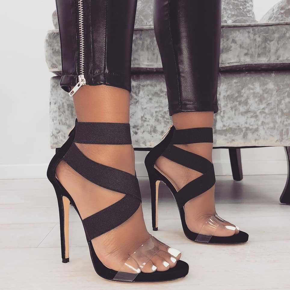 Women Sandals Shoes Sexy Elastic Cross Tied Transparent Open Toe 11.5cm High  Heels Shoes Large Size 35 43 Party Pumps Platform Heels Black Sandals From  ... 0a9490a83a78