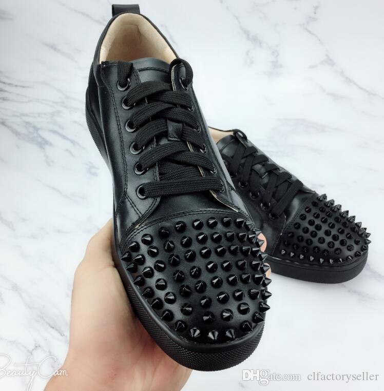 e33dd59e8e2b 2019 Luxury Studs Designer Sneakers Low Top Junior Spikes Flat Men Shoes  Black Leather Red Bottom For Men And Women Sneakers Designer Shoes Footwear  Sport ...