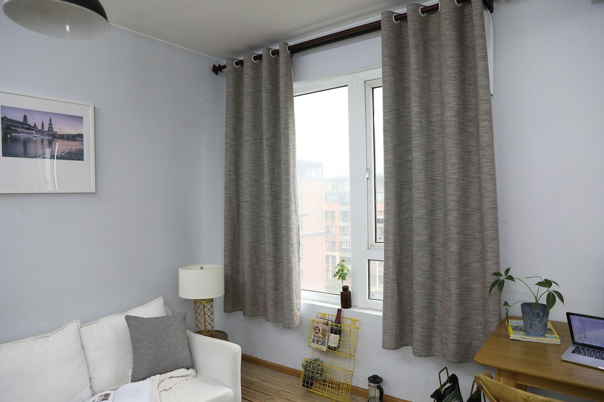 Concise Style Modern Semi-Shading-Effekt-Vorhang Fertiger Vorhang  Schlafzimmer Wohnzimmer Fenster Natürliche Baumwolle Leinen Vorhang
