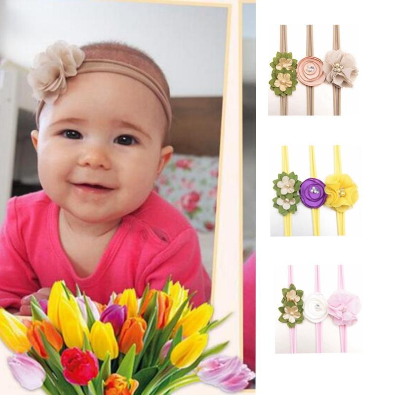 Cute Infant Headband Flower Pearl Hairband Floral Headwear Nylon ... aab46600d83e