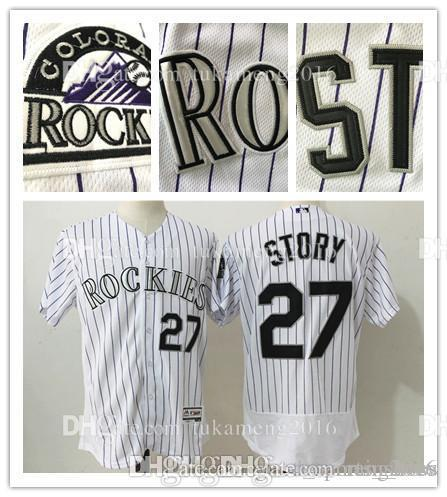 big sale d7235 c371d Men's Colorado Rockies Trevor Story 27 Flex Base Baseball Jerseys 100%  Stitched Embroidery Majestic White Home Jersey Free Shipping