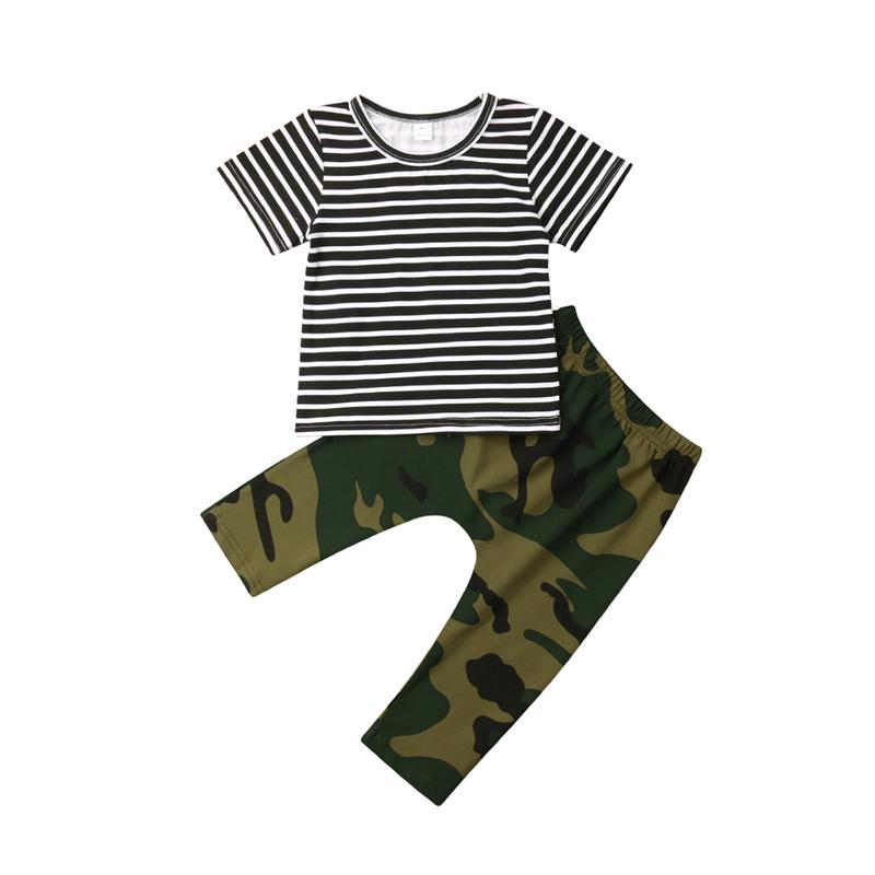 2db01c9cc929a Infant Newborn Baby Boy Girl Camo T-shirt Top+Camouflage Pants Outfit  Clothes Cool Cotton Unisex Full Striped Fashion Casual