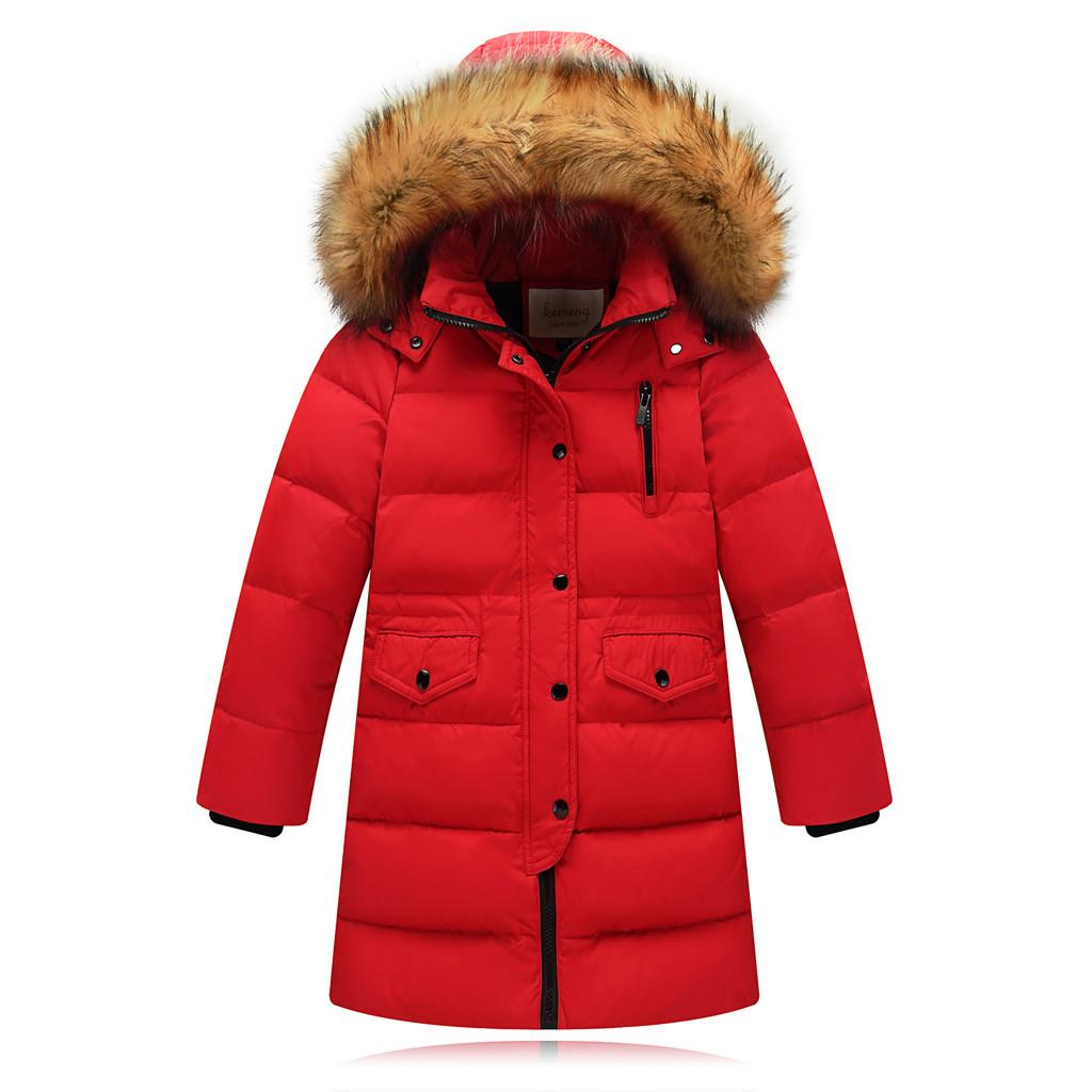09db50d43815 SZYADEOU Kids Jacket Winter Girls Coat Faux Fur Hooded Parka Down ...