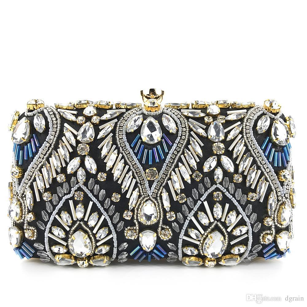 d62927a4f8 Women Fashion Crystal Evening Clutches Wedding Bridal Handbag Purse Black  Minaudiere Box Wedding Party Shoulder Handbag Diamond Wedding Bag Handbags  For ...
