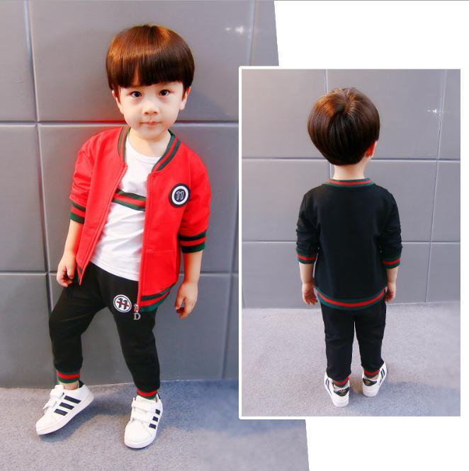 8813585ae 2019 Kids Boys Clothing Sets Baby Coat Jacket+T Shirt+Pants Children ...