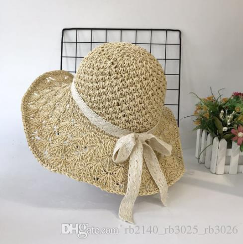 2019 new hot summer female models straw crochet folding sunscreen visor Korean seaside beach factory direct sales
