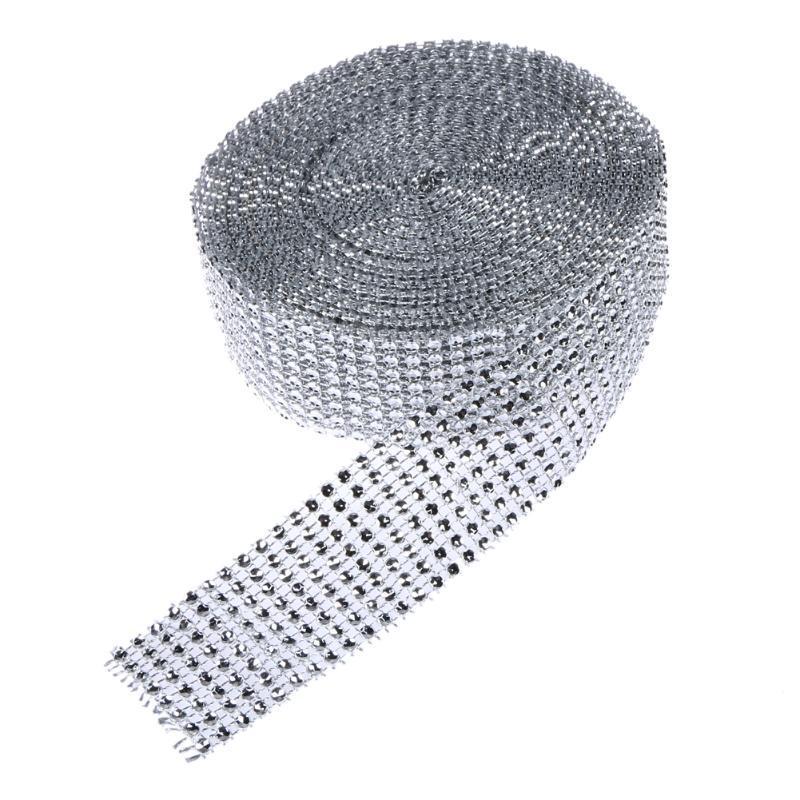 Decorazione di cerimonia nuziale 100 Yards 8 Rows Diamond Mesh Wrap Roll Sparkle Strass di cristallo Nastri DIY Decorazione del partito Forniture