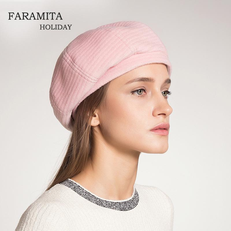 1edf67262b11d 2019 Faramita Holiday Warm Fashion Winter Outdoor Berets Round Hat Women  Elegant Lady Cool Autumn Cap Female Beret Casual Classic Hat From Hoganr