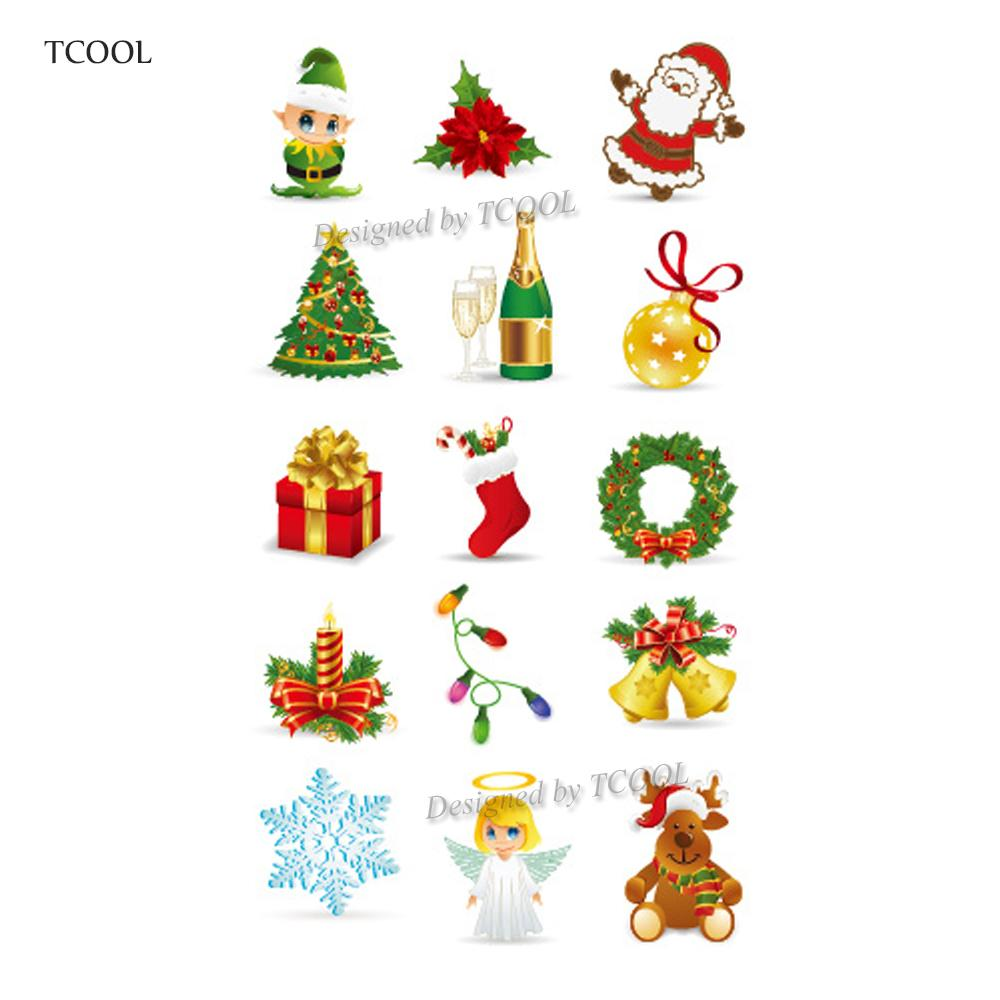 TCOOL Christmas Cartoon Children Temporary Tattoo Sticker Waterproof Fake  Body Art Tattoos 10.5X6cm Kids Hand Tatoo MX-035