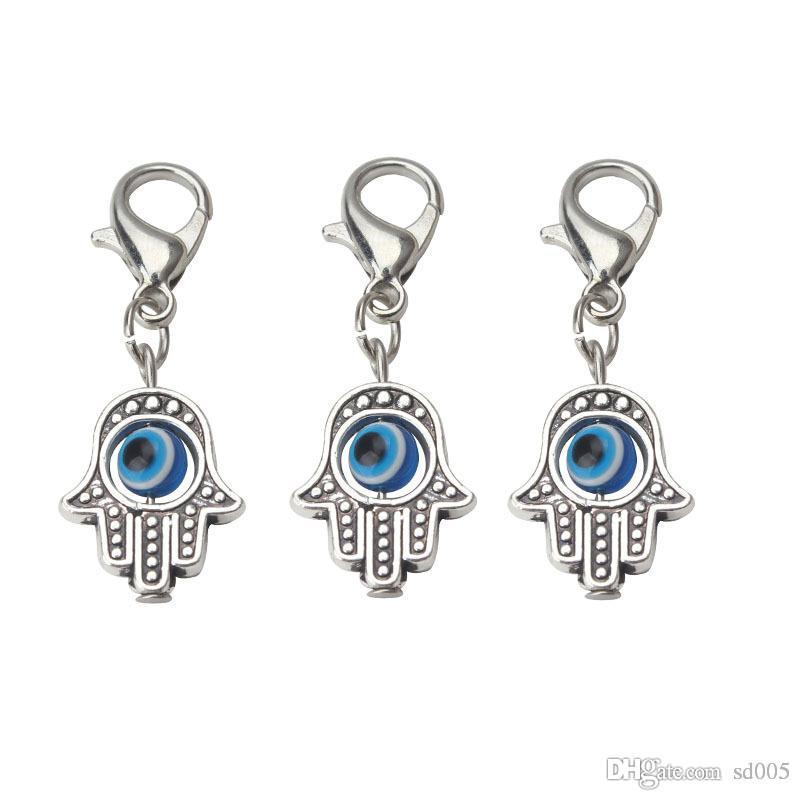 EVIL EYE Beads Hamsa Hand Charms Pendent Lobster Clasp Pendant Key Chain Jewelry Accessories For Woman Man 8bd I1