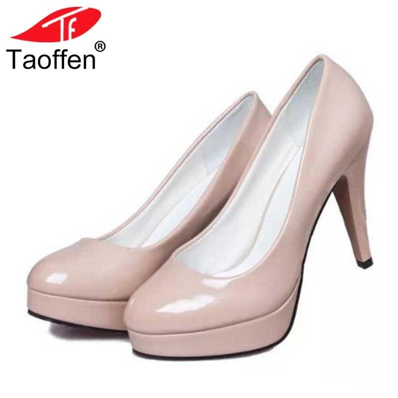 e6fe40cda2 Compre Taoffen Plataforma Mulheres Sapatos De Salto Alto Escritório Fomal  Vestido Sapatos Mulheres Sexy Saltos Finos Partido De Couro De Patente  Calçado ...