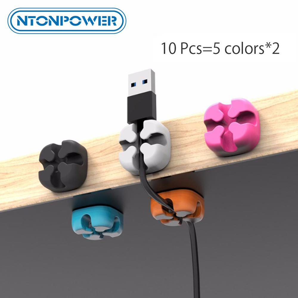 Winder NTONPOWER 10PCS Cable Management Organizer Soft Silicone Cable Winder Colorful Desktop Wire Organizer Cord Protector Holder Clip