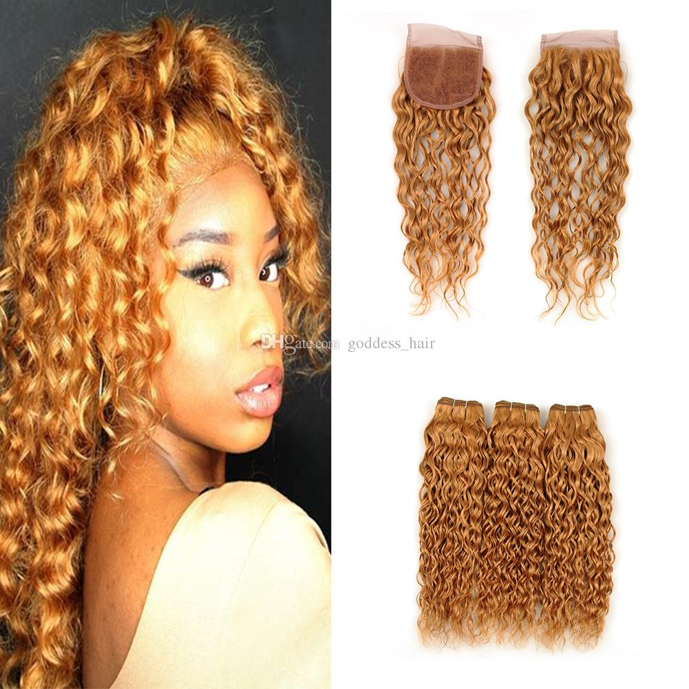 pure colored 27 wet and wavy lace closure with hair weaves water wave  3bundles extensions with lace closure