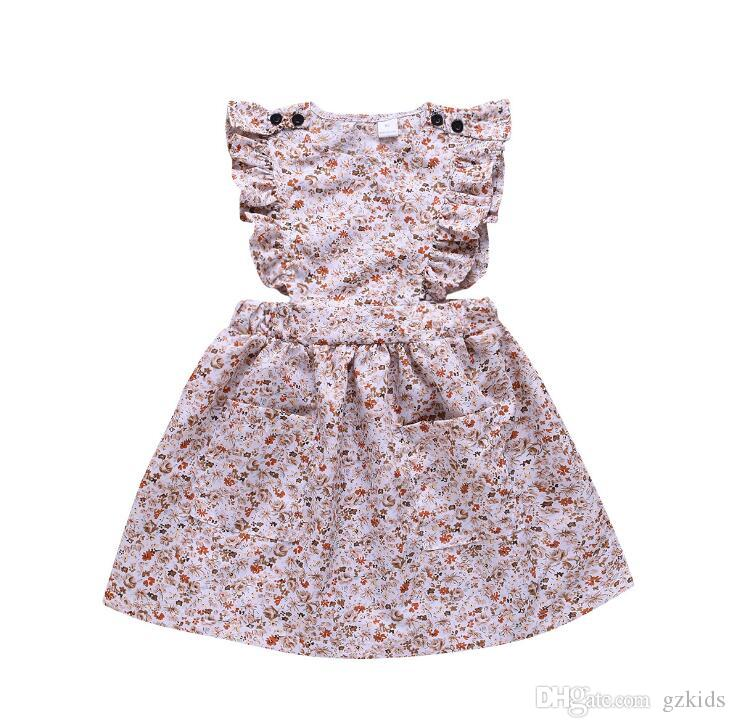 Small and Medium Girl Dresses with Broken Flower Flying Sleeves Summer Princess Skirt for Foreign Trade