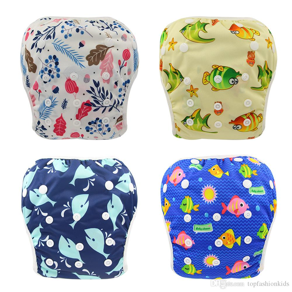 Mixed Colors Baby Reusable Swimming Cloth Diapers Washable Patterns Printed Baby Nappies 2019 Brand Adjustable Diapers for Newborn