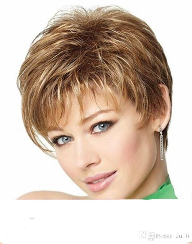 Fashion sexy Women's ladies short Brown blonde mixed wigs for women wig Free deliver