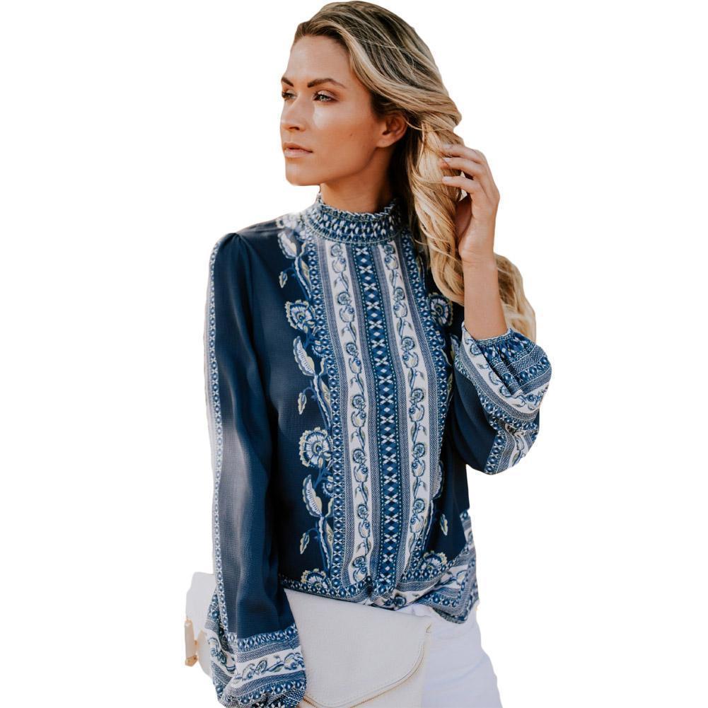 443daf3e31 Compre Mujeres Bonitas Boho Blusa De Manga Larga Estampado De Verano Floral  Blusas Sueltas Casual Camisa De Las Mujeres Elegantes Señoras Blusas Mujer  Tops ...