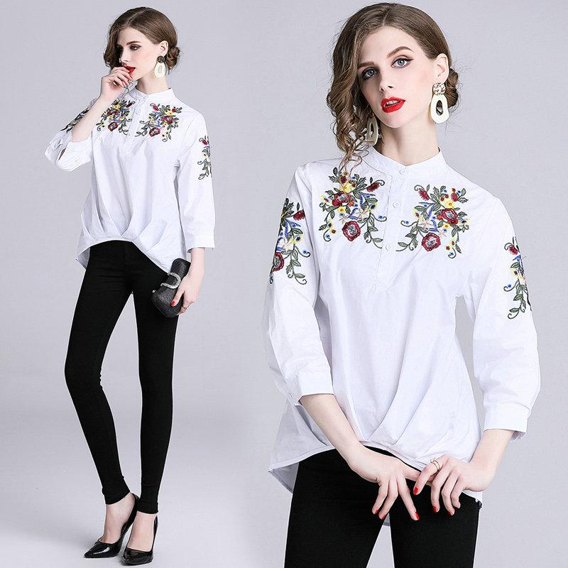 6335592131a 2019 Embroidery Womens Shirt 2 3 Sleeve Tops Front Short Back Long Pleated  Blouses Fashion Casual Qualtiy Ladies Shirts From Top youshanping