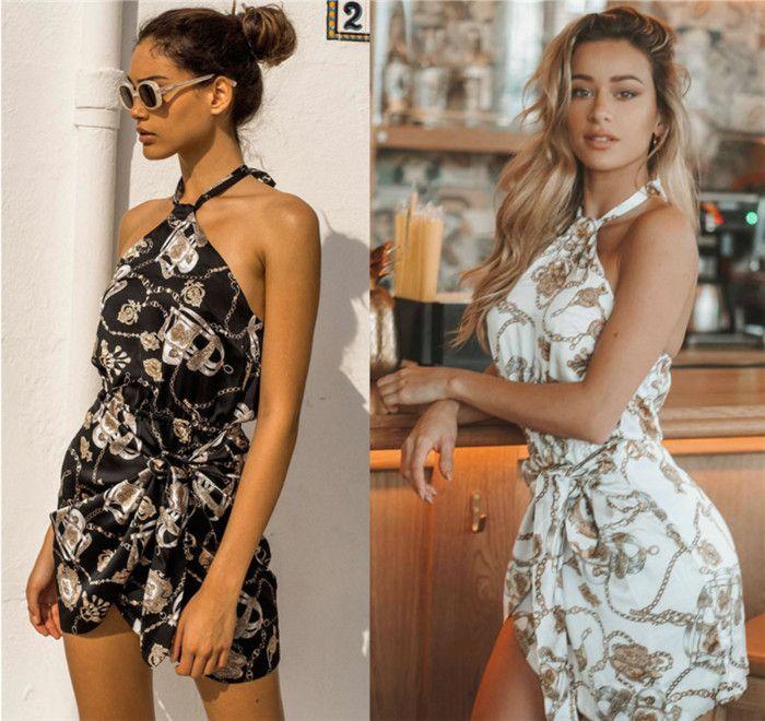 1d84260de6622 2019 New summer ladies dress sexy hanging neck sleeveless halter waist tied  knot Bohemian holiday beach party dress