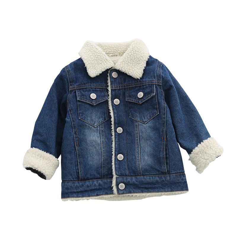 wholesale dealer 334b4 1035c Kinder Lämmer Jeansjacke Winter Jungen Dicke Denim Mäntel Koreanische  Kinderkleidung Plus Samt Mädchen Denim