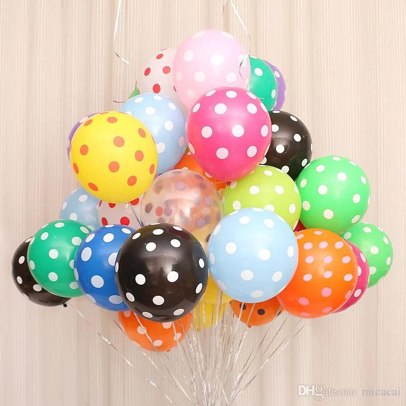 100pcs lot 12inch 2.8g balloons polka dotted printing candy color balloon kids birthday party decoration wedding decorations
