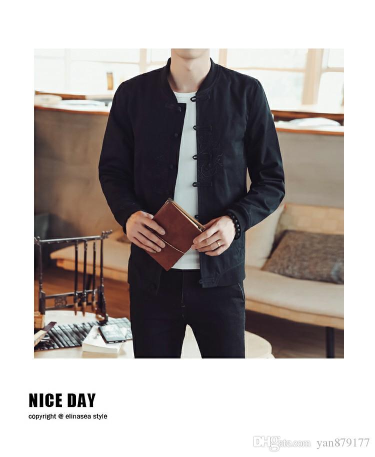 c99455d2c Mens Designer Jackets Chinese Style Embroidery Long Trench Coats Men's Wool Coat  Men Outdoor Coat Casual Sweatshirt Hoodies Jacket M-5XL