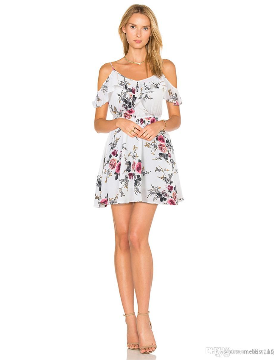 aa5e030967f8 Wholesale Summer Floral Print Women Chiffon White Dress Ruffle Off Shoulder  Spaghetti Strap Female Tunic Girl Casual Beach Dresses Sundress Sale Floral  ...