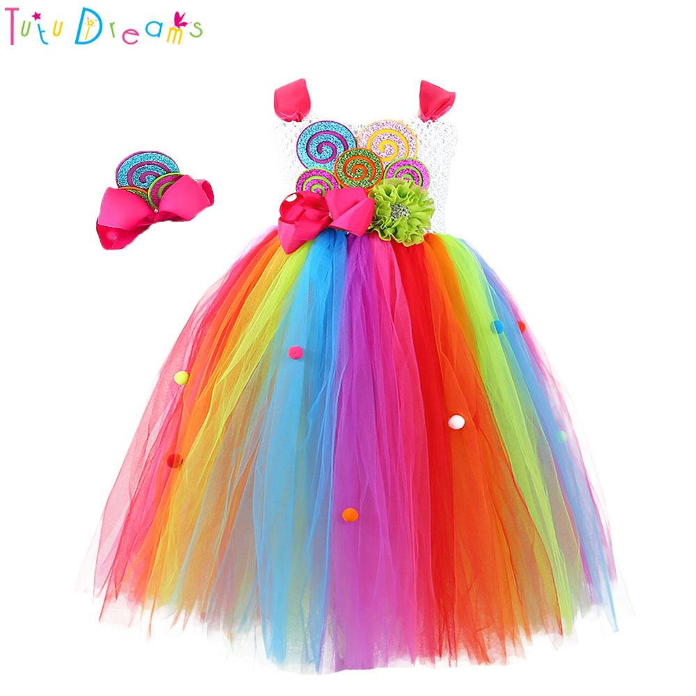 8f8a0ee819fc7 Sweet Rainbow Candy Girl Birthday Tutu Dress Child Kids Cute Colorful Balls  Flower Bow Candy Cake Cosplay Tulle Tutu Dresses