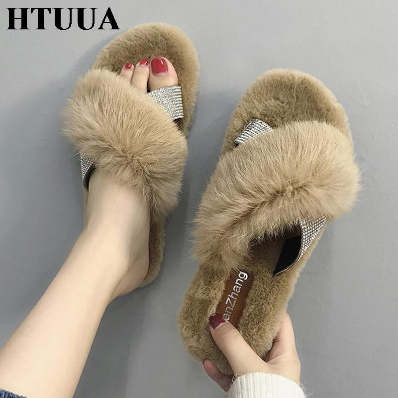 b440e70f0298 HTUUA Crystal Cross Fluffy Fur Slippers Women Winter Slippers Flat Furry  Slides Indoor Floor Home Cozy Shoes SX1765 Waterproof Boots Comfortable  Shoes From ...