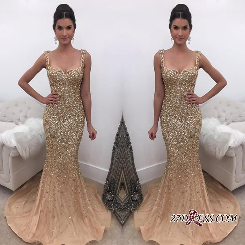 ceda748286d Luxury Sparkly Elegant Straps Crystal Mermaid Prom Dresses 2018 New Arrival  Gold Evening Dress Online Formal Wear Extravagant Prom Dresses Glitz Prom  ...