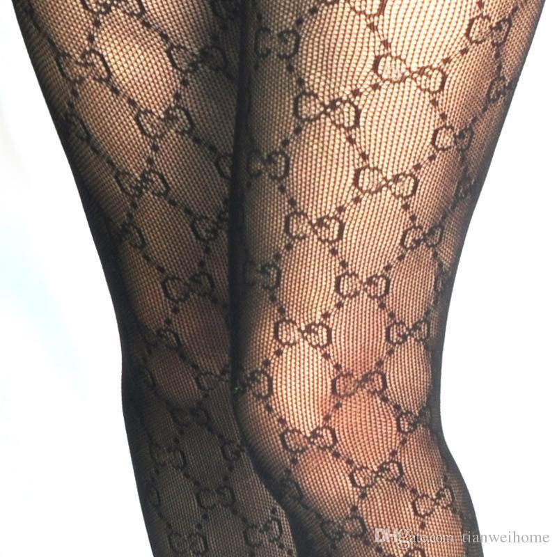 7356d1317ae Letter Logo Tights Spring Autumn Winter Sexy Leggings Fishnet Stockings  Leggings Women s Socks Black White Color