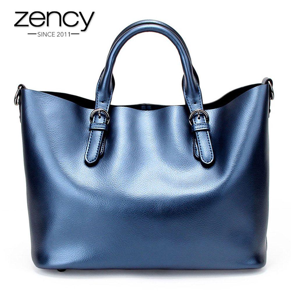 607a6bd6df7228 Zency 100% Genuine Leather Soft Skin Fashion Women Handbag Luxury ...